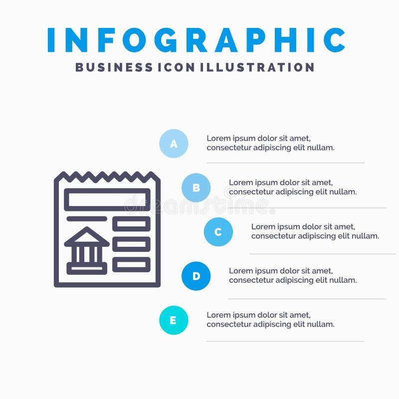 Básico, documento, Ui, linha de banco ícone com fundo do infographics da apresentação de 5 etapas ilustração royalty free