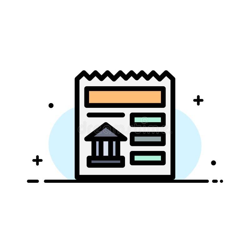 Básico, documento, Ui, linha lisa do negócio do banco encheu o molde da bandeira do vetor do ícone ilustração stock