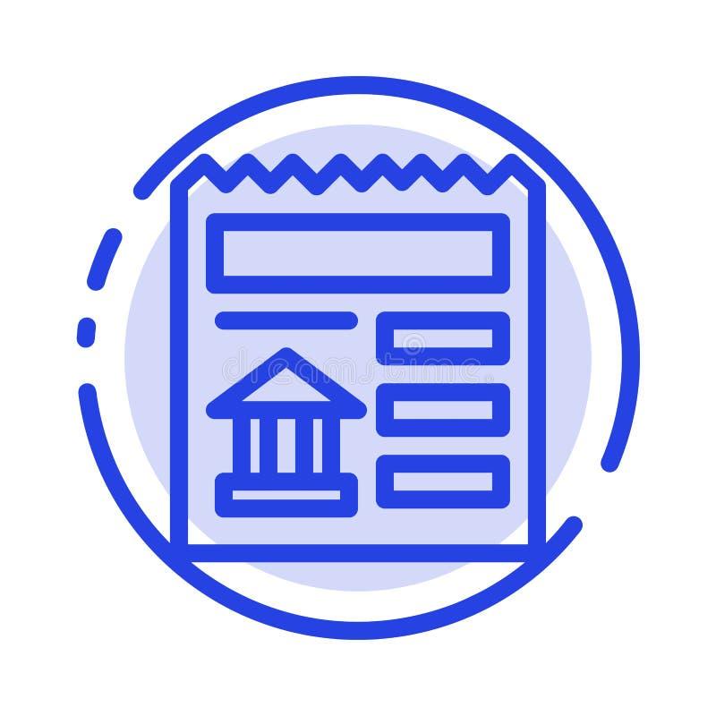 Básico, documento, Ui, linha pontilhada azul linha ícone do banco ilustração royalty free