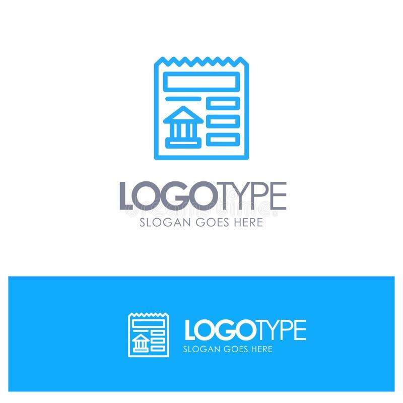 Básico, documento, Ui, logotipo azul do esboço do banco com lugar para o tagline ilustração royalty free