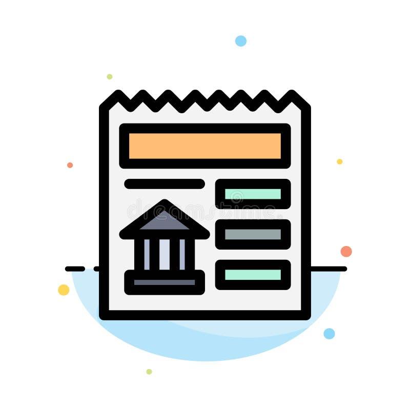 Básico, documento, Ui, molde liso do ícone da cor do sumário do banco ilustração do vetor