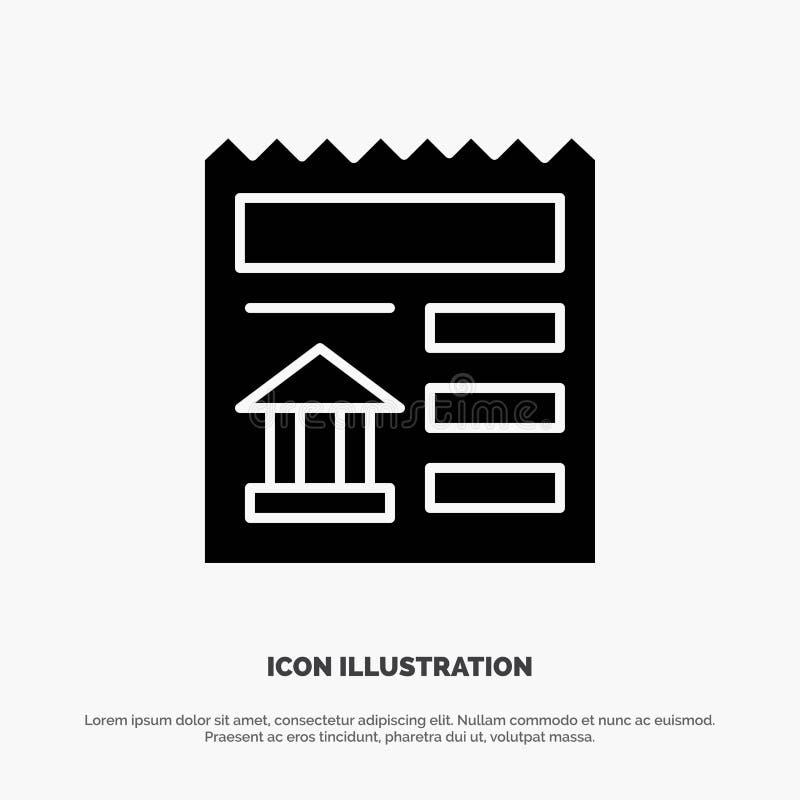 Básico, documento, Ui, vetor contínuo do ícone do Glyph do banco ilustração do vetor
