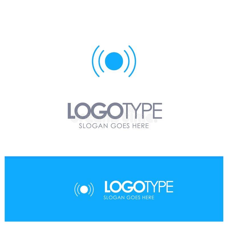 Básico, esencial, señal, Ui, logotipo sólido azul de Ux con el lugar para el tagline stock de ilustración