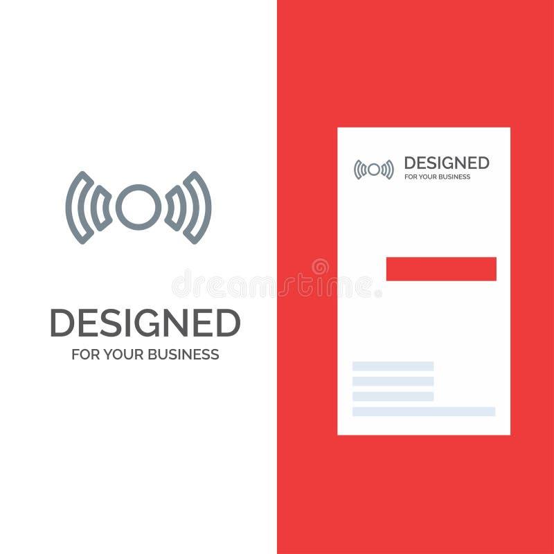 Básico, esencial, señal, Ui, Ux Grey Logo Design y plantilla de la tarjeta de visita ilustración del vector