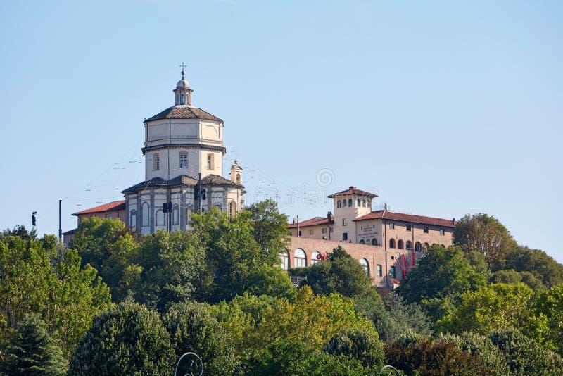Bâti de Cappuccini ou bâti du bâtiment d'église de moines de capucin et de musée de montagne à Turin images libres de droits