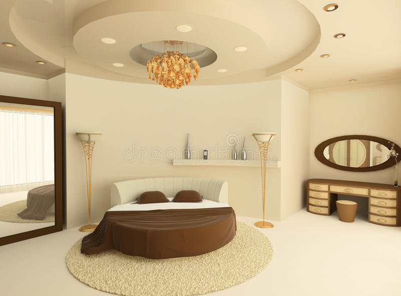 Bâti rond avec un plafond suspendu dans la chambre à coucher illustration libre de droits