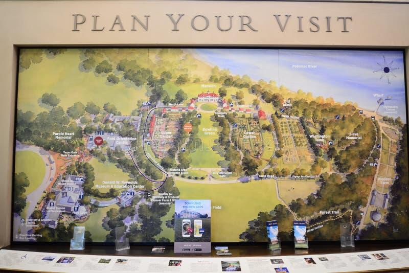 Bâti Vernon Estate Layout Map du ` s de Washington photos libres de droits