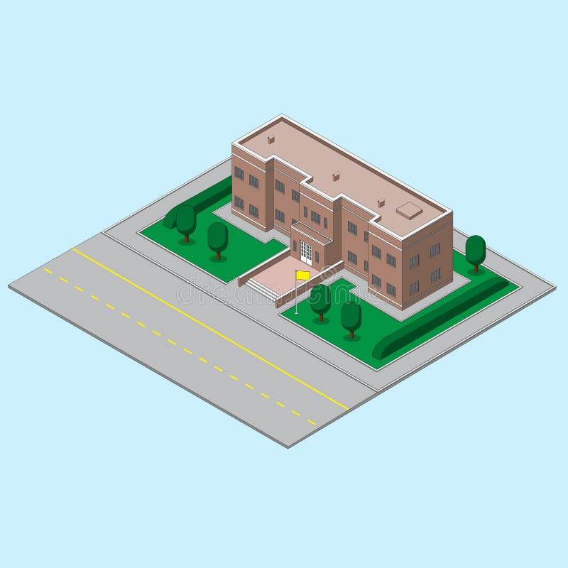 Bâtiment, état d'école ucherezhdeny avec le drapeau et la route Image de vecteur illustration de vecteur