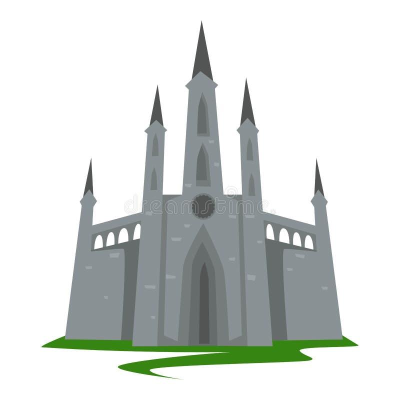 Bâtiment antique d'architecture de château gothique de style avec des tours illustration stock