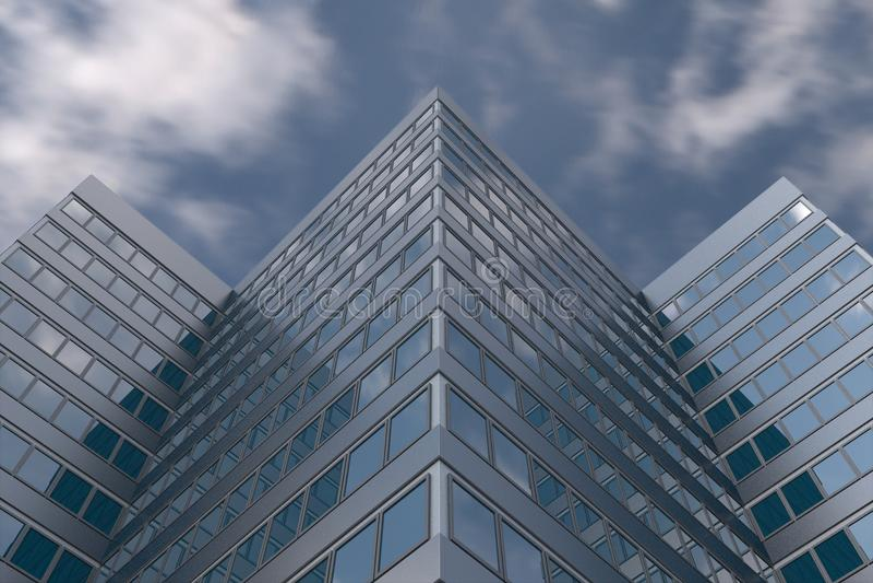 Bâtiment ayant beaucoup d'étages en ciel nuageux photographie stock