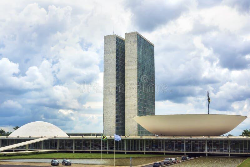 Bâtiment brésilien du congrès national à Brasilia, Brésil images libres de droits