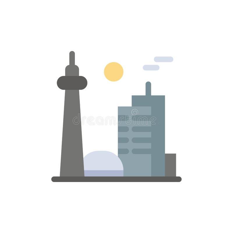 Bâtiment, Canada, ville, ville célèbre, icône plate de couleur de Toronto Calibre de bannière d'icône de vecteur illustration de vecteur