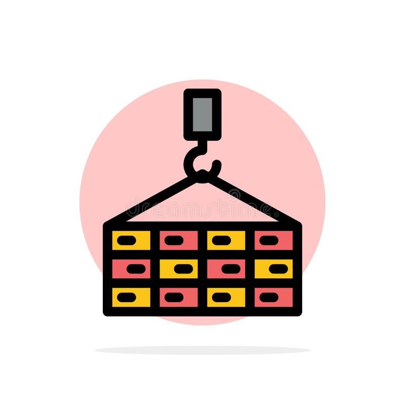 Bâtiment, cargaison, construction, icône de couleur de Crane Abstract Circle Background Flat illustration stock