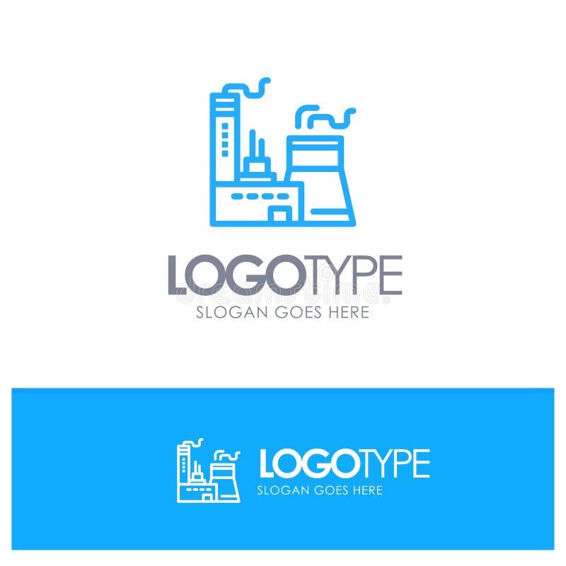 Bâtiment, construction, usine, contour bleu Logo Place d'industrie pour le Tagline illustration libre de droits