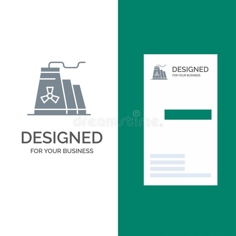 Bâtiment, construction, usine, industrie Grey Logo Design et calibre de carte de visite professionnelle de visite illustration libre de droits