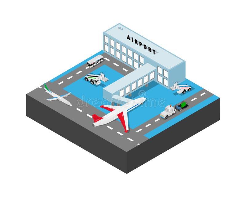 B?timent d'a?roport avec des airplans, autobus, voitures chargeur, escaliers de cargaison Illustration isom?trique de vecteur illustration de vecteur