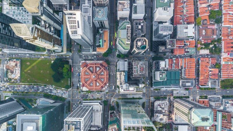 Bâtiment d'affaires d'horizon de ville de Singapour et secteur financier, ville aérienne de Singapour de vue supérieure photographie stock libre de droits
