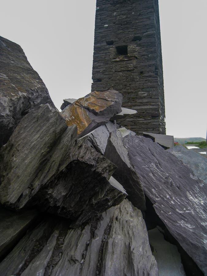 Bâtiment d'ardoise, Valentia Island, manière atlantique sauvage images libres de droits
