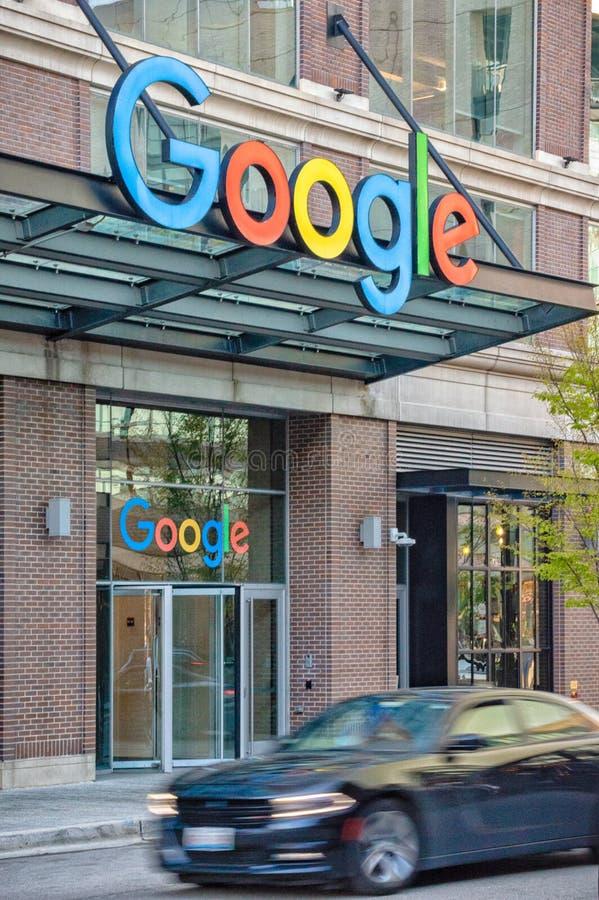 Bâtiment d'entreprise de Google en Fulton Market Rue principale Chicago Affaires de l'Illinois image libre de droits