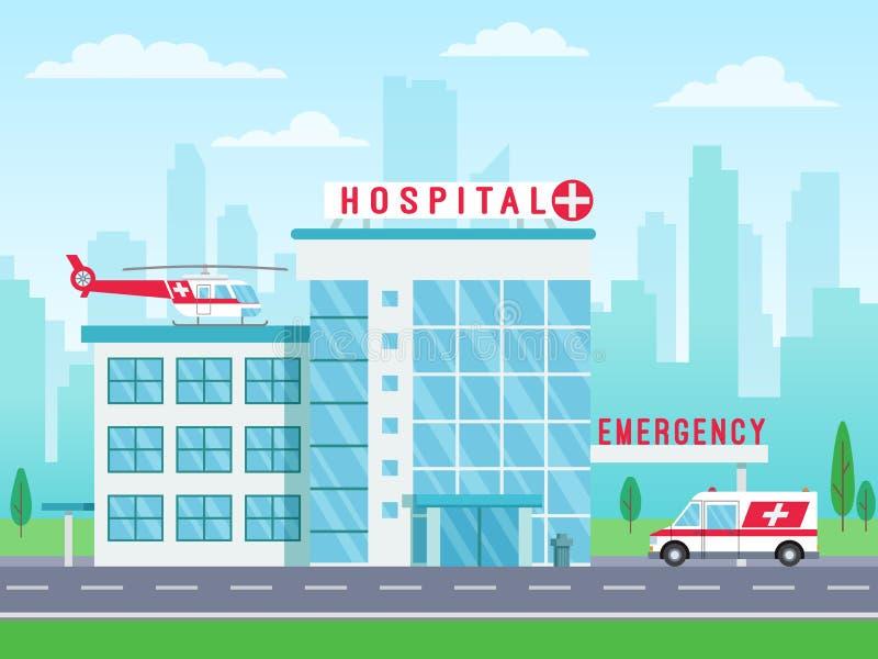 Bâtiment d'hôpital avec l'hélicoptère d'ambulance sur la position de toit et de voiture sur la route, services médicaux, bâ illustration stock