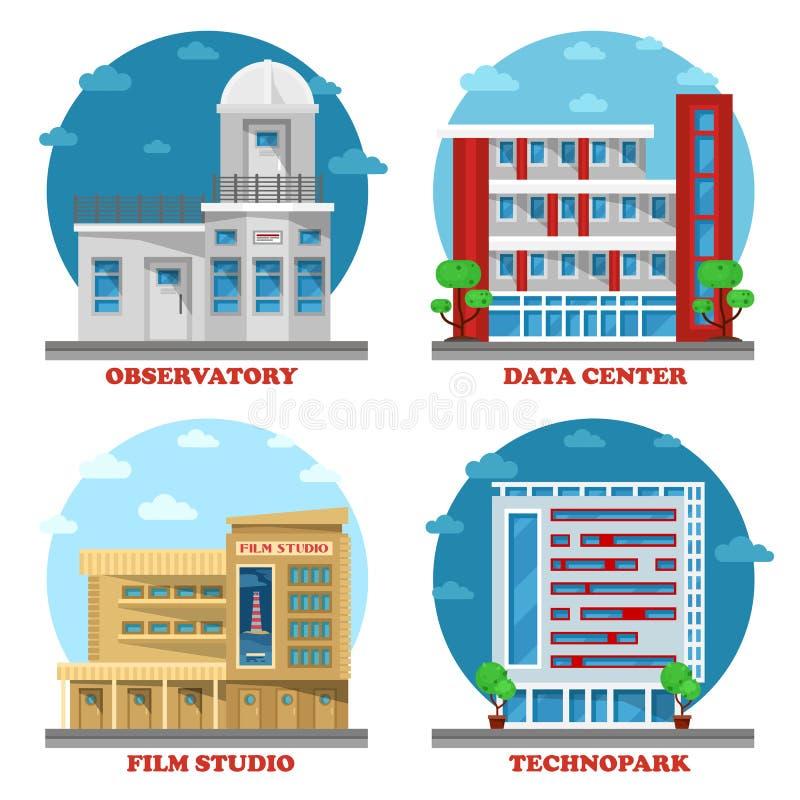 Bâtiment d'observatoire et architecture de studio de film illustration stock