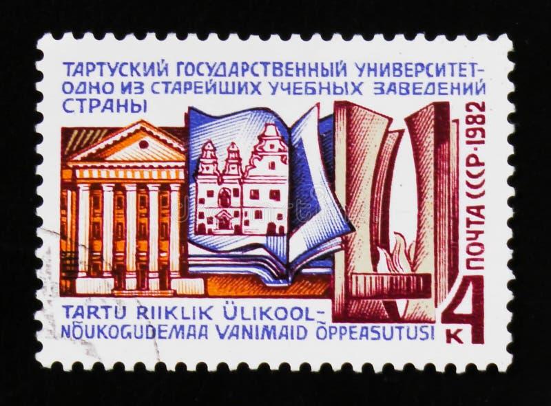 Bâtiment d'université Estonie de Tartu, vers 1982 photos libres de droits