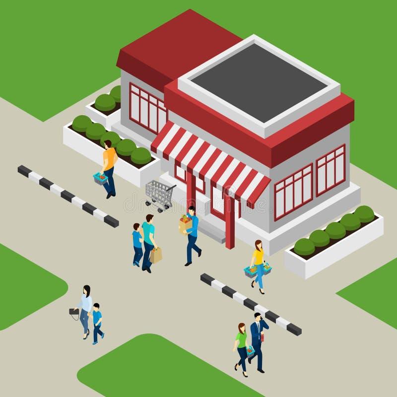 Bâtiment de boutique et illustration de clients illustration de vecteur