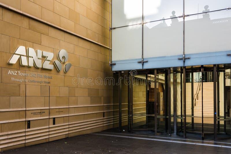 Bâtiment de Cantre de banque d'ANZ sur la rue de Pitt photos stock