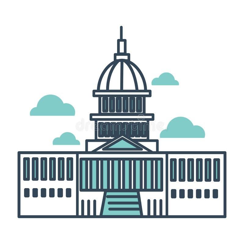 Bâtiment de capitol de monument principal des Etats-Unis d'importance gouvernementale illustration stock