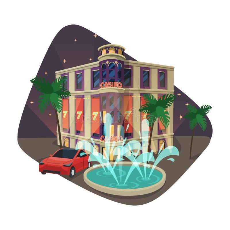 Bâtiment de casino ou de maison de jeu la nuit illustration libre de droits