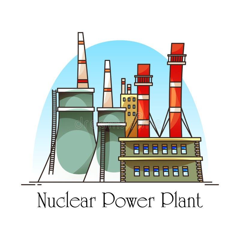 Bâtiment de centrale nucléaire avec des tours de refroidissement illustration de vecteur
