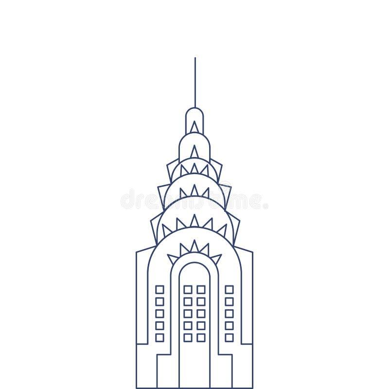 Bâtiment de Chrysler de vecteur pour la coloration Illustration pour livre de coloriage d'enfants illustration stock