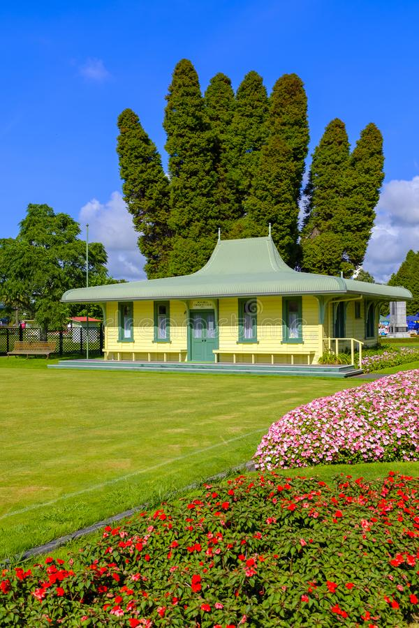 Bâtiment de club de croquet de Rotorua photos stock