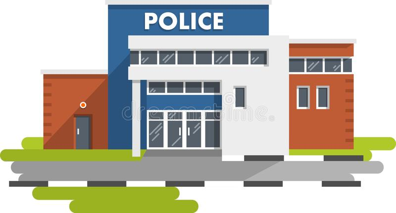 Bâtiment de commissariat de police sur le fond blanc illustration stock