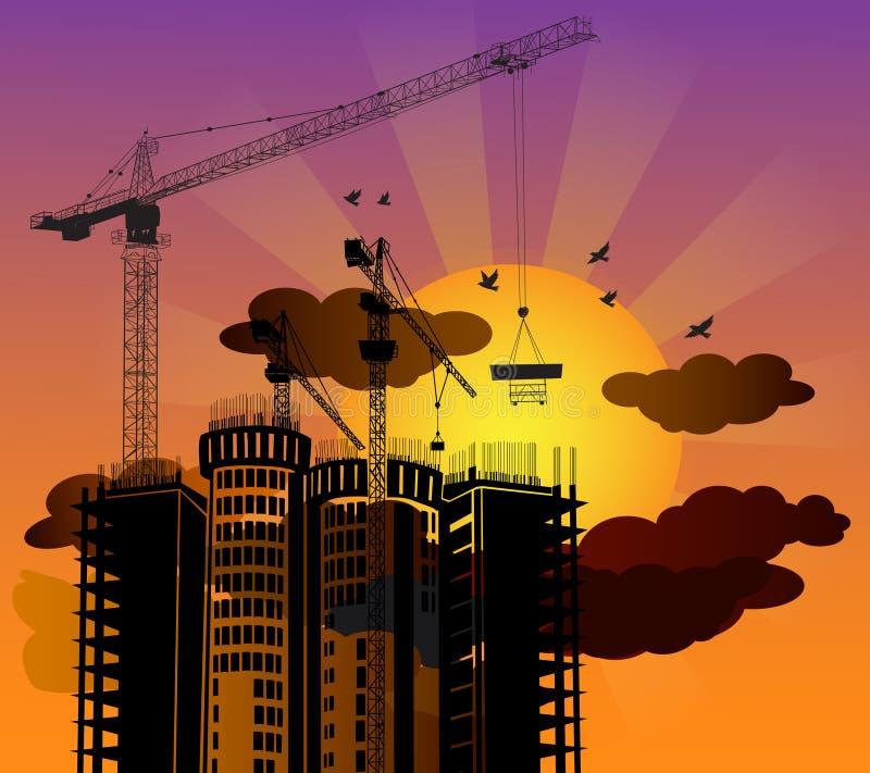 Bâtiment de construction de silhouette avec le fond de coucher du soleil illustration de vecteur