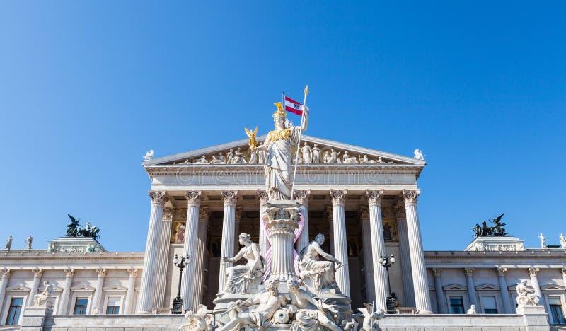 Bâtiment de fontaine et de Parlement d'Athéna, Vienne photo libre de droits