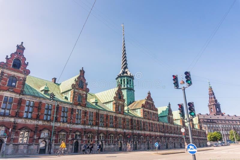 Bâtiment de la bourse des valeurs de Copenhague, Danemark photos libres de droits
