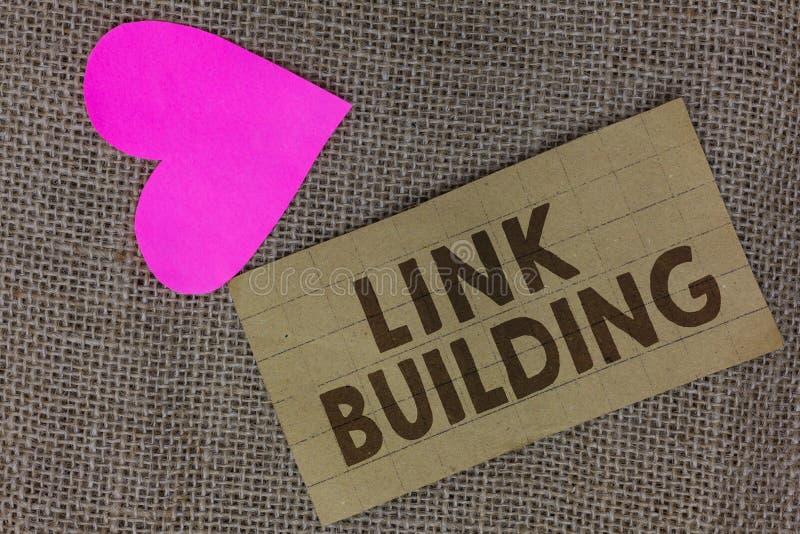 Bâtiment de lien des textes d'écriture de Word Le concept d'affaires pour des liens hypertextes de SEO Term Exchange Links Acquir photographie stock