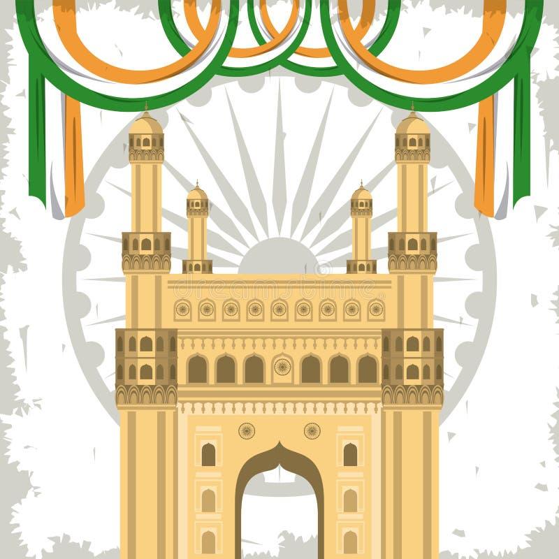 Bâtiment de monument de passage de l'Inde avec des drapeaux illustration libre de droits