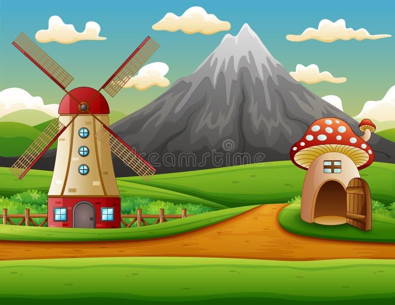 Bâtiment de moulin à vent et la maison de champignon avec un fond de montagne illustration stock