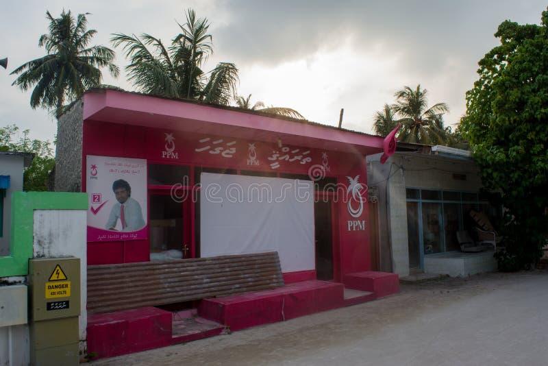 Bâtiment de parti politique situé à l'île tropicale Fenfushi images stock