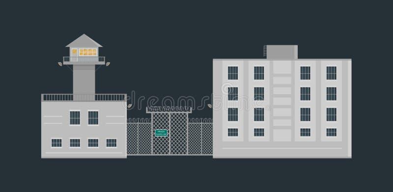 Bâtiment de prison de prison avec le mirador et barrière dans le style plat images stock