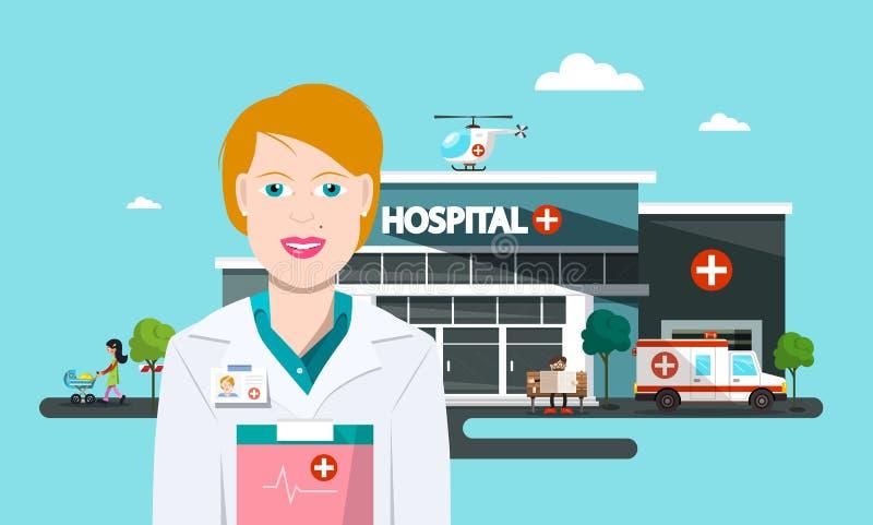 Bâtiment de vecteur d'hôpital avec le docteur, voiture d'ambulance illustration stock