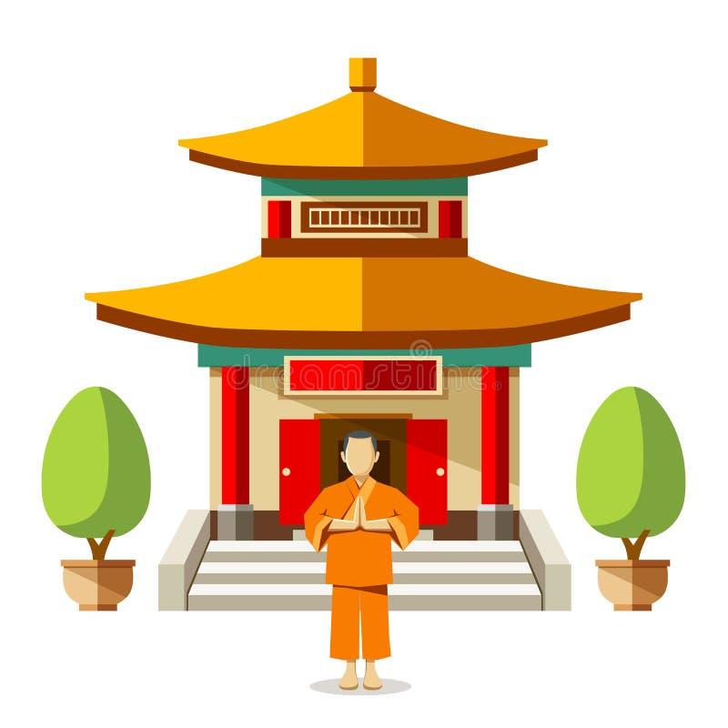 Bâtiment de vecteur de la Chine avec des moines de porcelaine illustration de vecteur