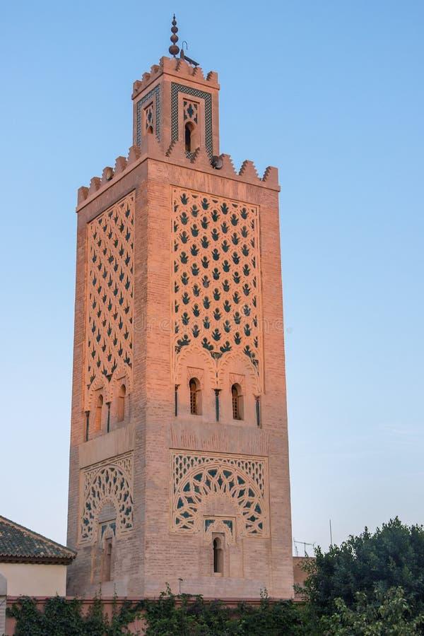 bâtiment en Ben Youssef Madrasa image stock