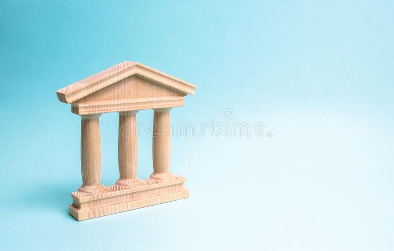 Bâtiment en bois de monument ou de gouvernement Représentation de Minimalistic de statebuilding, d'un tribunal ou d'un monument d images libres de droits