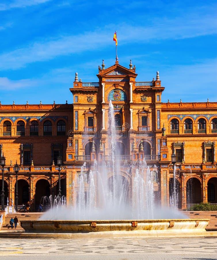 Bâtiment et fontain entral de  de Ñ chez Plaza de Espana images stock