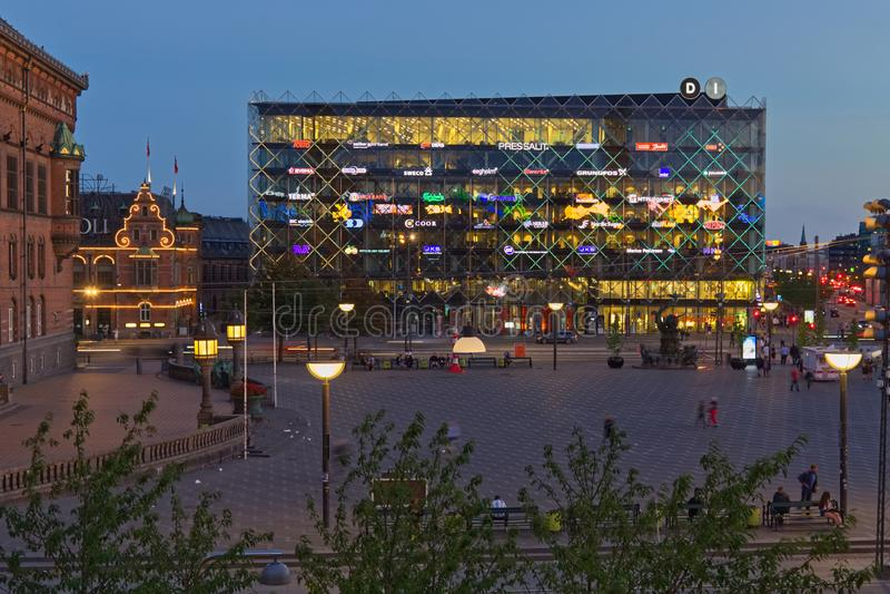 Bâtiment et logos d'industrie du Danemark photographie stock libre de droits