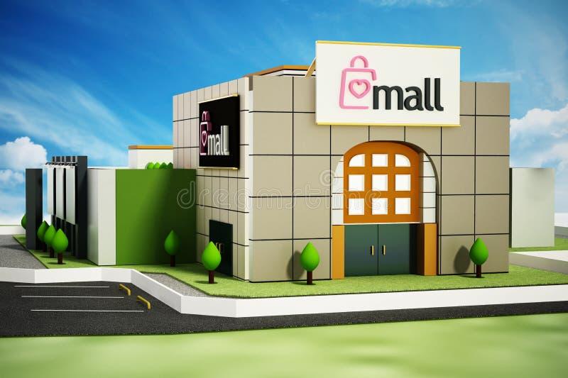 Bâtiment générique de centre commercial contre le ciel bleu illustration 3D illustration stock