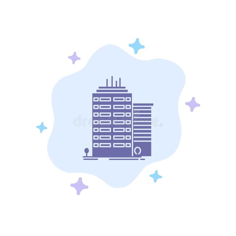 Bâtiment, gratte-ciel, bureau, icône bleue supérieure sur le fond abstrait de nuage illustration de vecteur